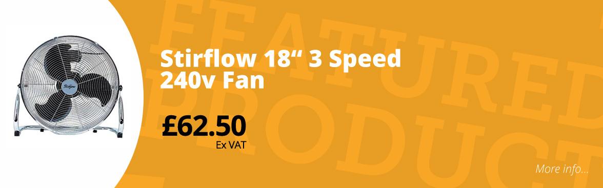 """Stirflow 18"""" 3 speed 240v fan £62.50 ex VAT"""